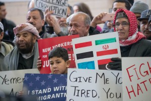 Members of the Western New York Yemeni community rally in support of the communities affected by President Trump's new travel ban during an event at St. Anthony's Church Hall in Lackawanna, Friday, March 10, 2017. (Derek Gee/Buffalo News)